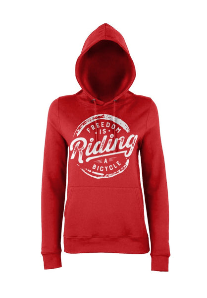 Red Womens Freedom IS Riding a Bicycle Hoody