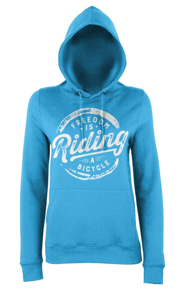 Blue women's freedom is riding a bicycle hoody