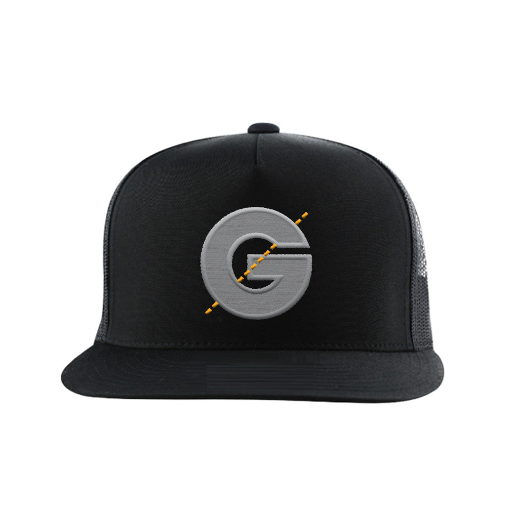 Groomarang Black Snapback Cap With Large Embroidered Logo, Hats - Image 0