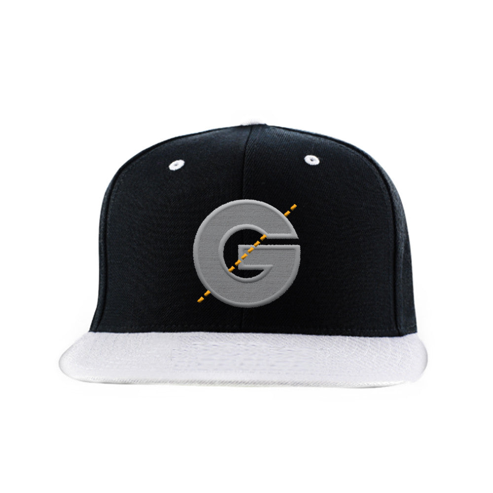 Groomarang Black & Grey Contrast Snapback Cap With Large Embroidered Logo by  Groomarang