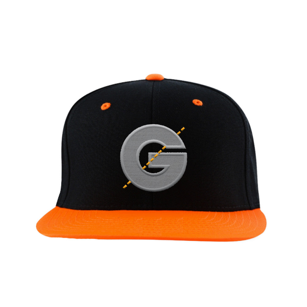 Groomarang Black & Orange Contrast Snapback Cap With Large Embroidered Logo