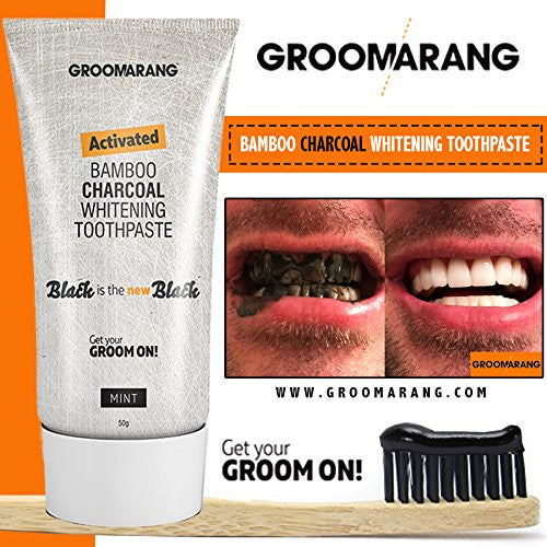 Groomarang Activated Bamboo Charcoal Teeth Whitening Toothpaste by  Groomarang