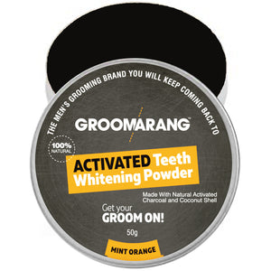 Groomarang Activated Teeth Whitening Powder - Activated Charcoal & Coconut Shell - Mint Orange