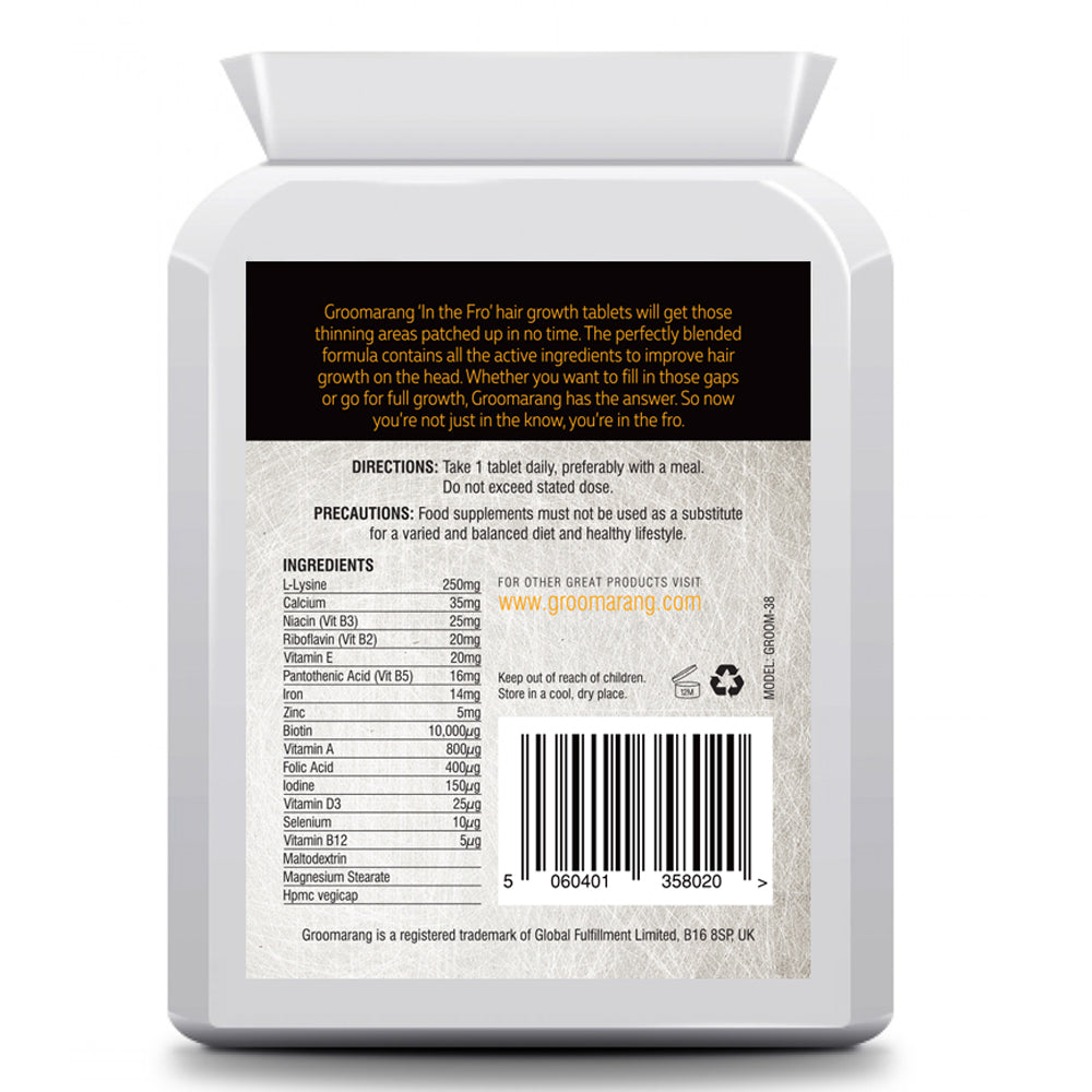 Groomarang 'In The Fro' Hair Growth Tablets, Hair Loss Treatments - Image 1