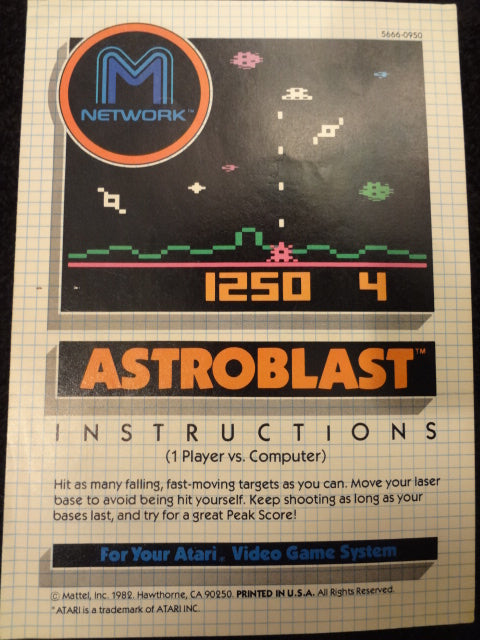 Astroblast Instruction Booklet Atari 2600