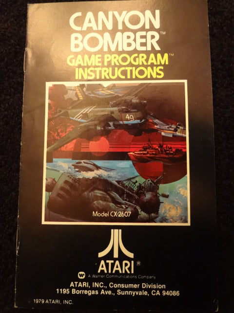 Canyon Bomber Instruction Booklet Atari 2600