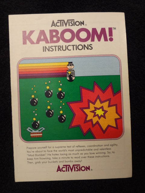 Kaboom Instruction Booklet Atari 2600