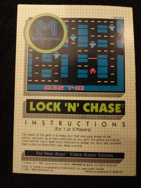 Lock 'N' Chase Instruction Booklet Atari 2600