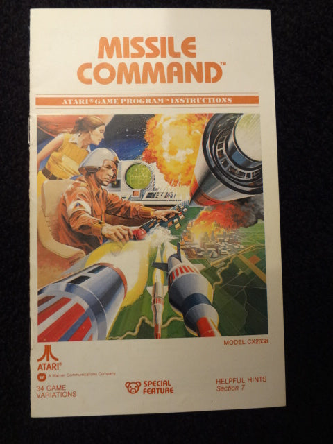 Missile Command Instruction Booklet Atari 2600