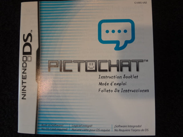 PictoChat Instruction Booklet Nintendo DS