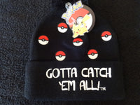 "Pokemon Pokeball ""Got To Catch 'Em All"" Cuff Pom Beanie"