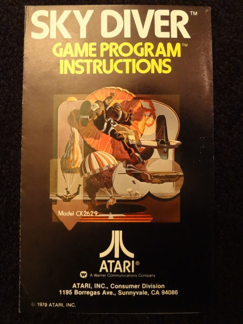 Sky Diver Instruction Booklet Atari 2600