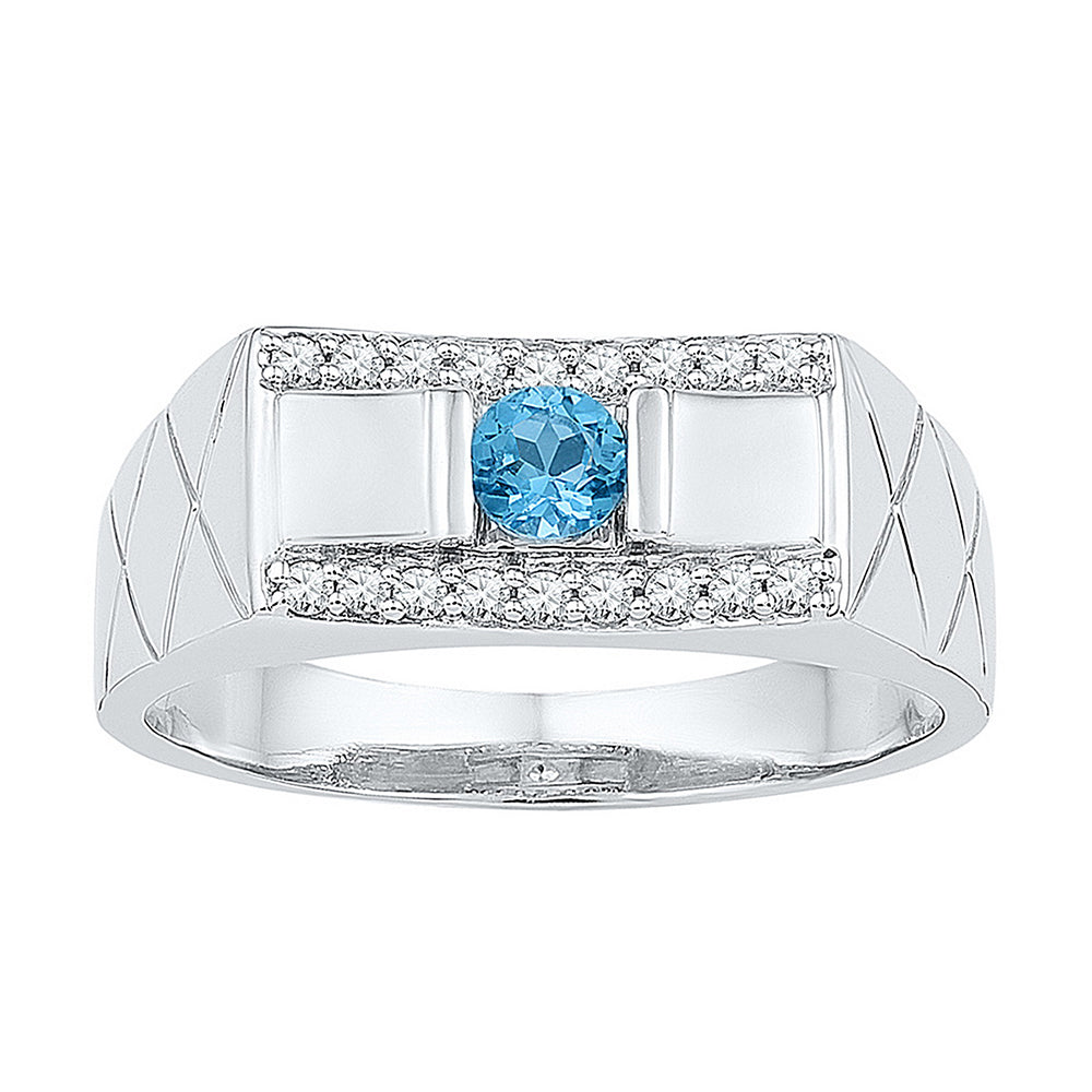 10kt White Gold Mens Round Lab-Created Blue Topaz Diamond Band Ring 1/2 Cttw