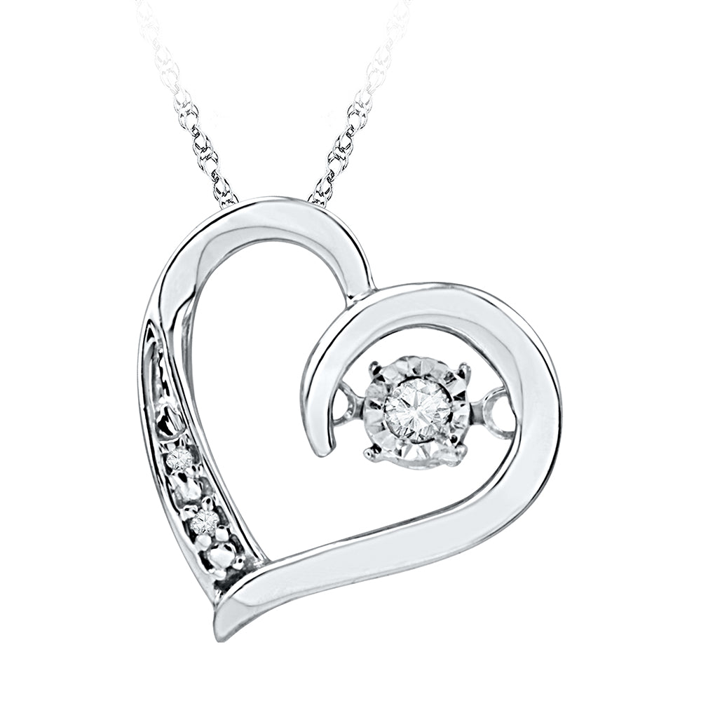 10kt White Gold Womens Round Diamond Heart Love Twinkle Moving Pendant 1/20 Cttw