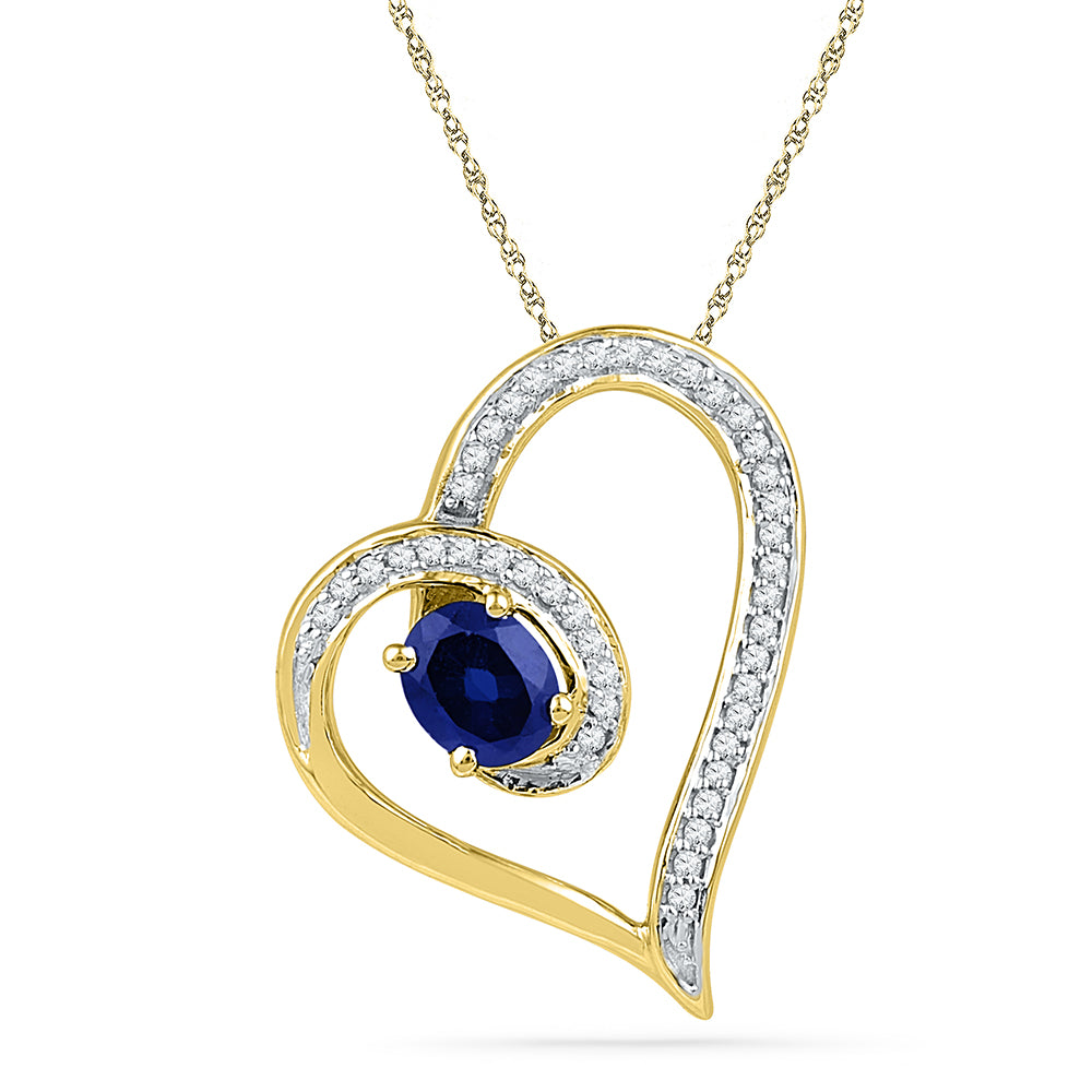 10kt Yellow Gold Womens Oval Lab-Created Blue Sapphire Heart Outline Pendant 3/4 Cttw