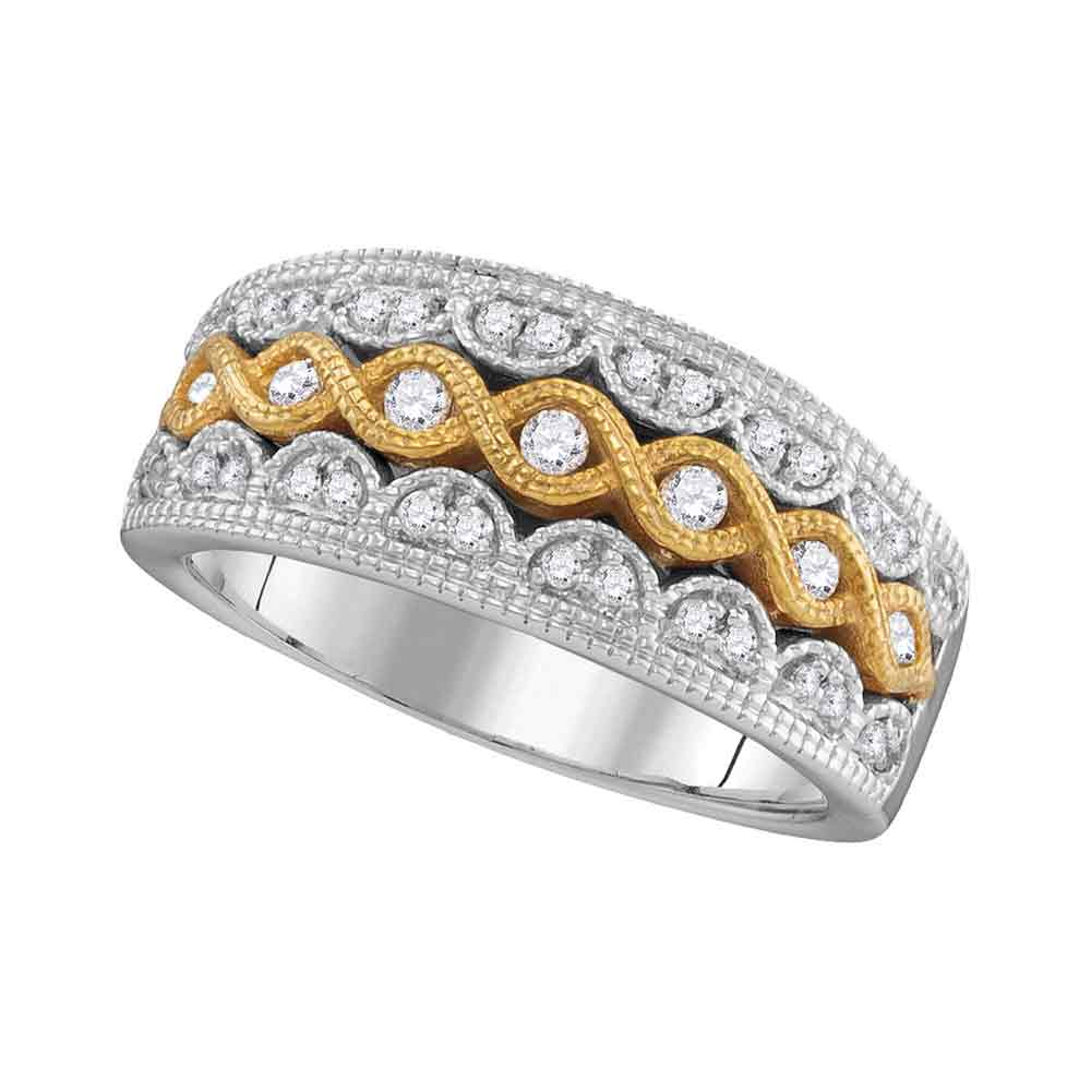 10kt Two-tone White Gold Womens Round Diamond Yellow Twist Fashion Band Ring 1/3 Cttw