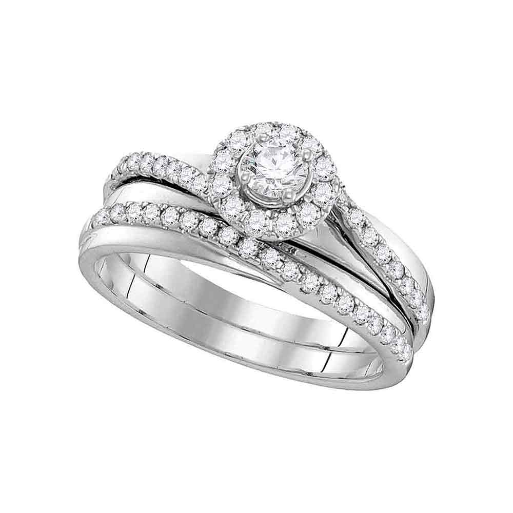 10kt White Gold Womens Round Diamond Halo Bridal Wedding Engagement Ring Band Set 1-1/2 Cttw