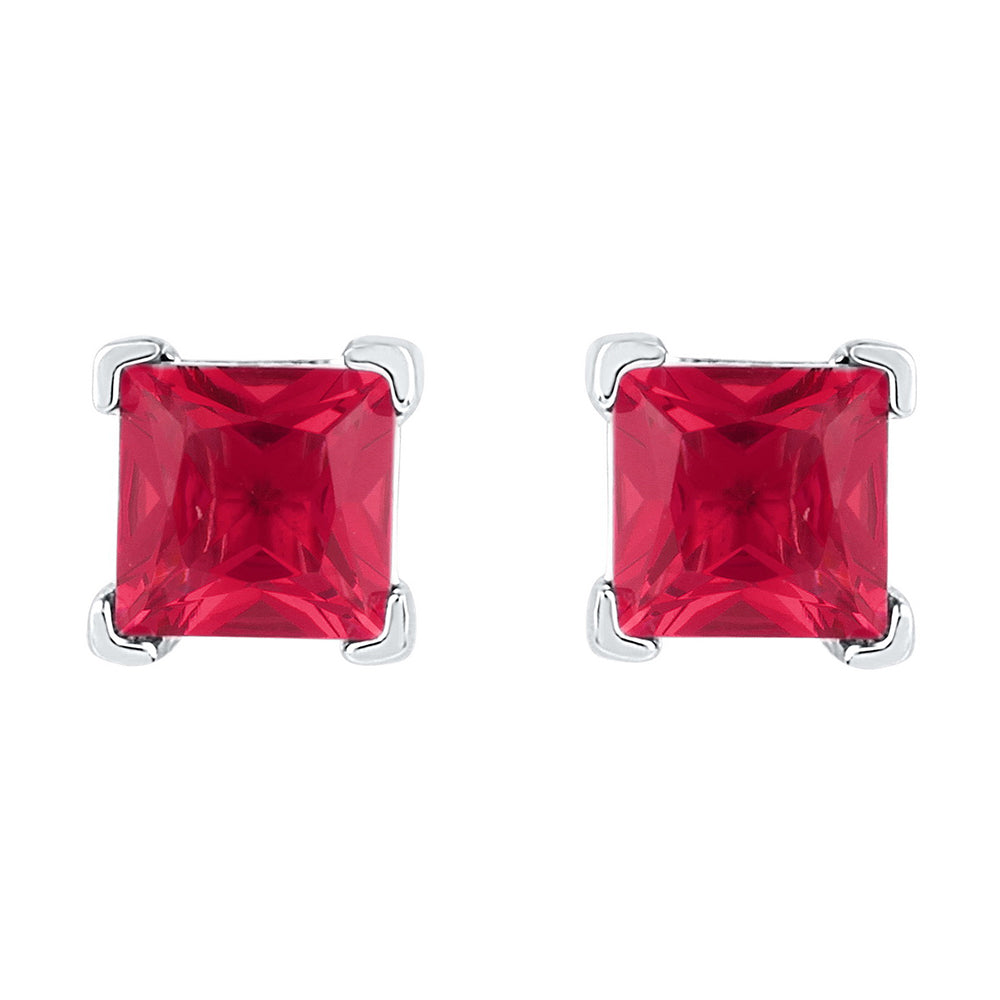 10kt White Gold Womens Princess Lab-Created Ruby Solitaire Earrings 2.00 Cttw