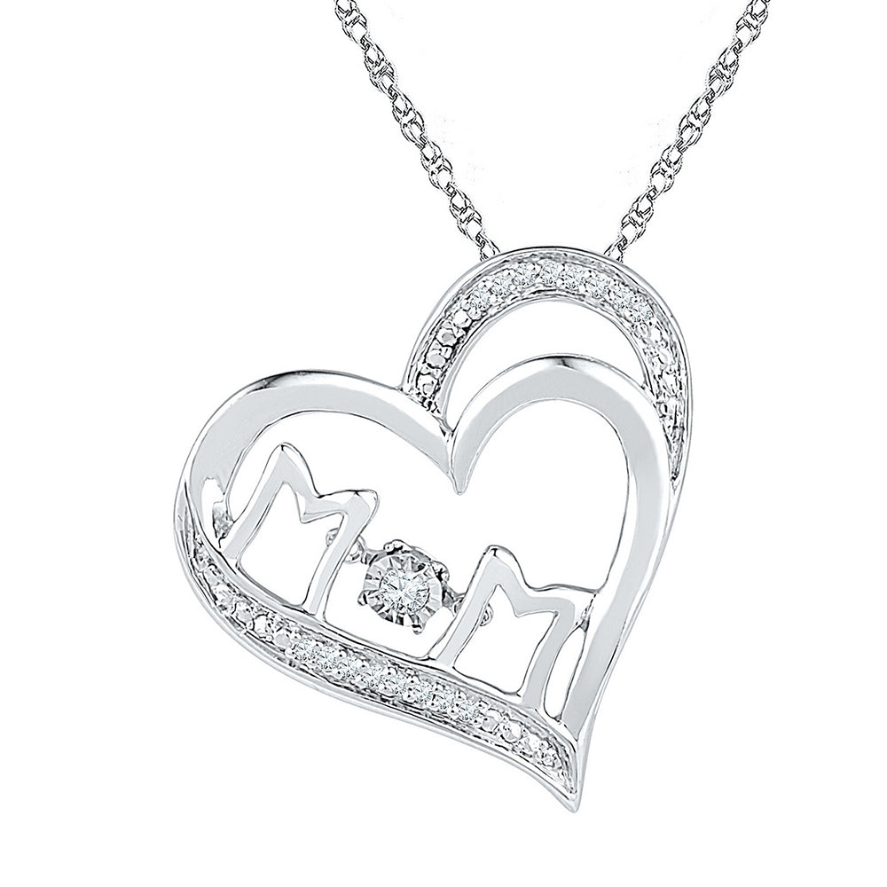 Sterling Silver Womens Round Diamond Moving Twinkle Solitaire Mom Mother Heart Pendant 1/20 Cttw