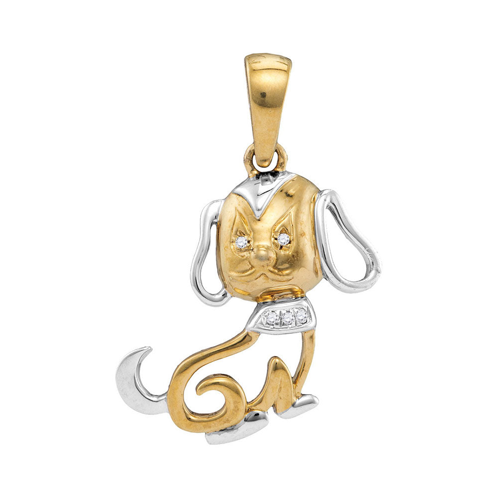 10kt Two-tone Gold Womens Round Diamond Dog Doggy Pendant .012 Cttw