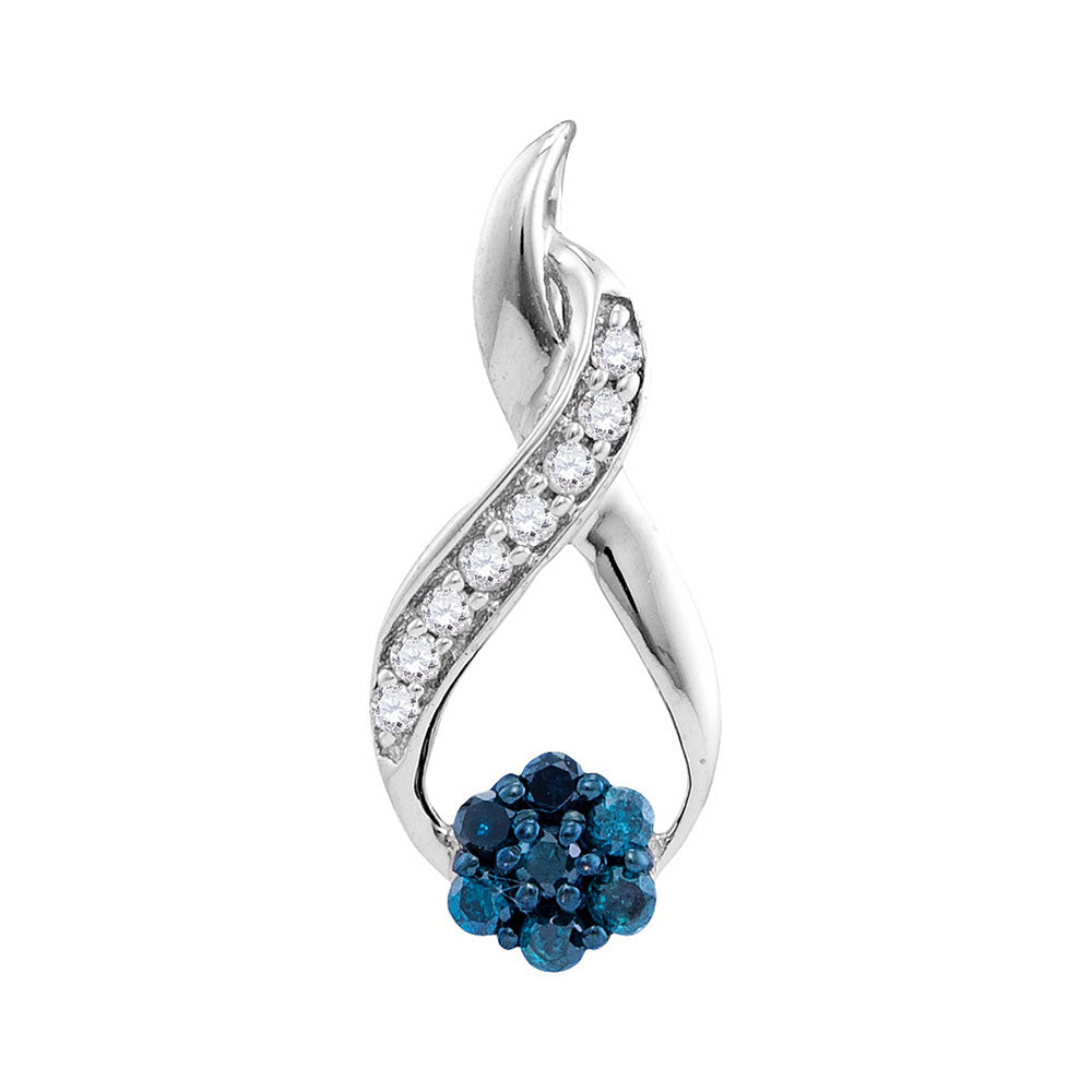 10kt White Gold Womens Round Blue Color Enhanced Diamond Cluster Twist Pendant 1/6 Cttw