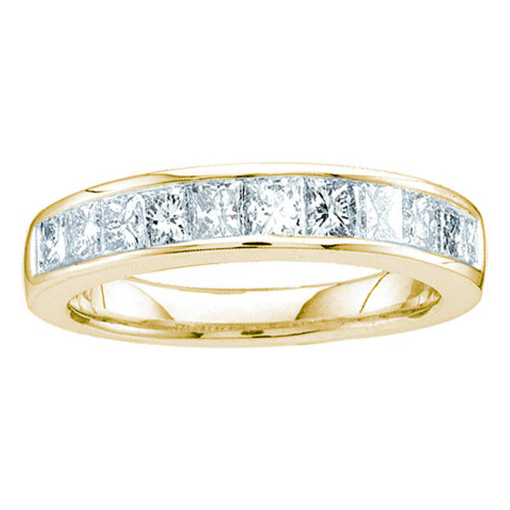 14kt Yellow Gold Womens Princess Channel-set Diamond Single Row Wedding Band 1/2 Cttw