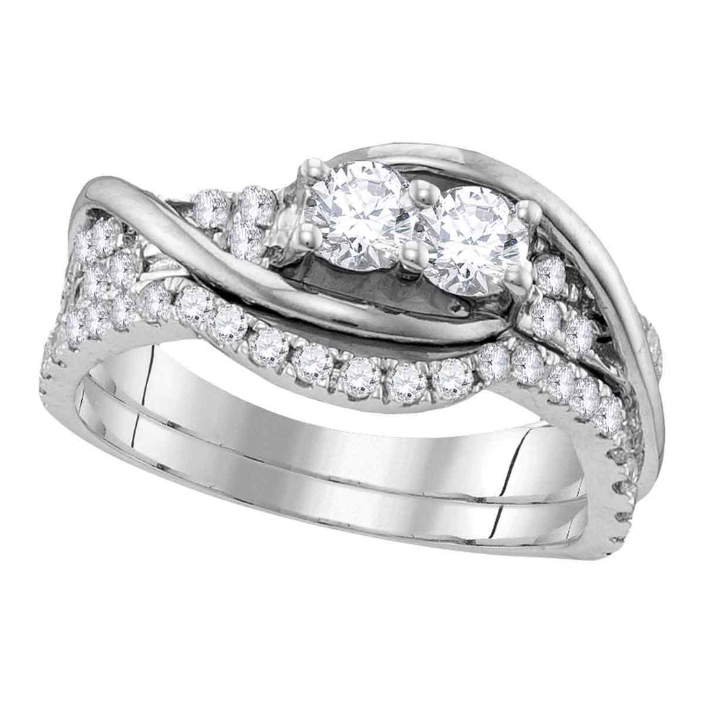 10kt White Gold Womens Round Diamond 2-stone Bridal Wedding Engagement Ring Band Set 1/2 Cttw