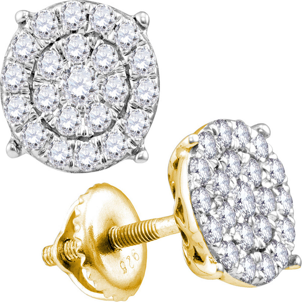 10kt Yellow Gold Womens Round Diamond Cindy's Dream Cluster Earrings 3/4 Cttw