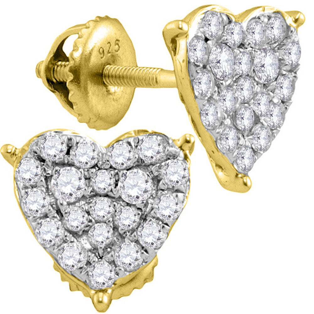 10kt Yellow Gold Womens Round Diamond Heart Cluster Stud Earrings 1/2 Cttw