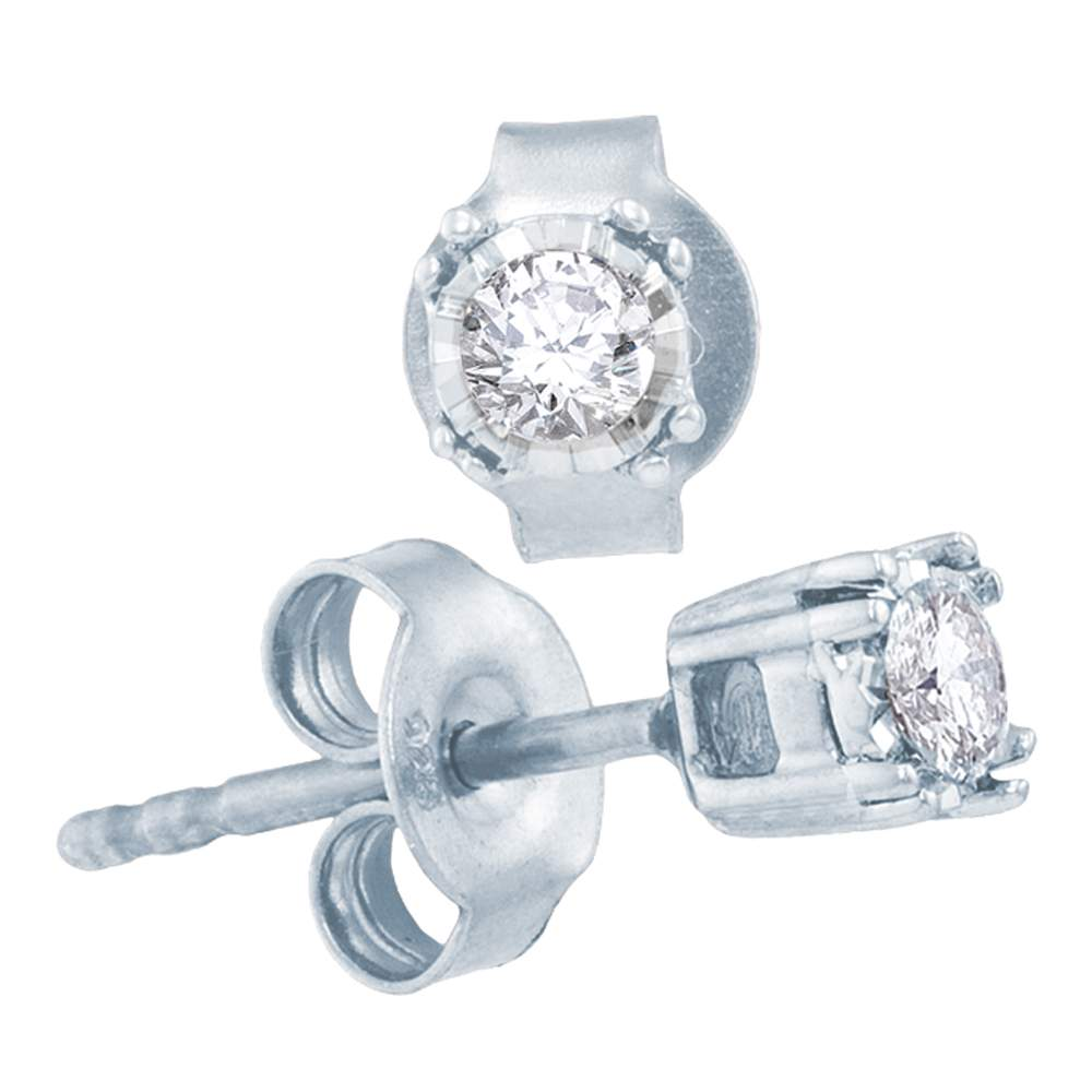 10kt White Gold Womens Round Diamond Solitaire Stud Earrings 1/6 Cttw