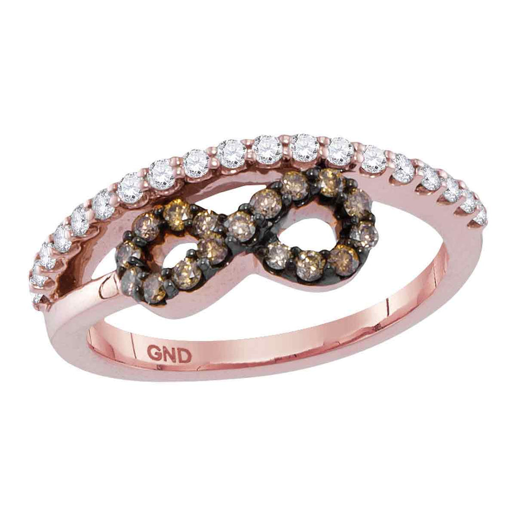 10kt Rose Gold Womens Round Brown Color Enhanced Diamond Infinity Ring 1/2 Cttw