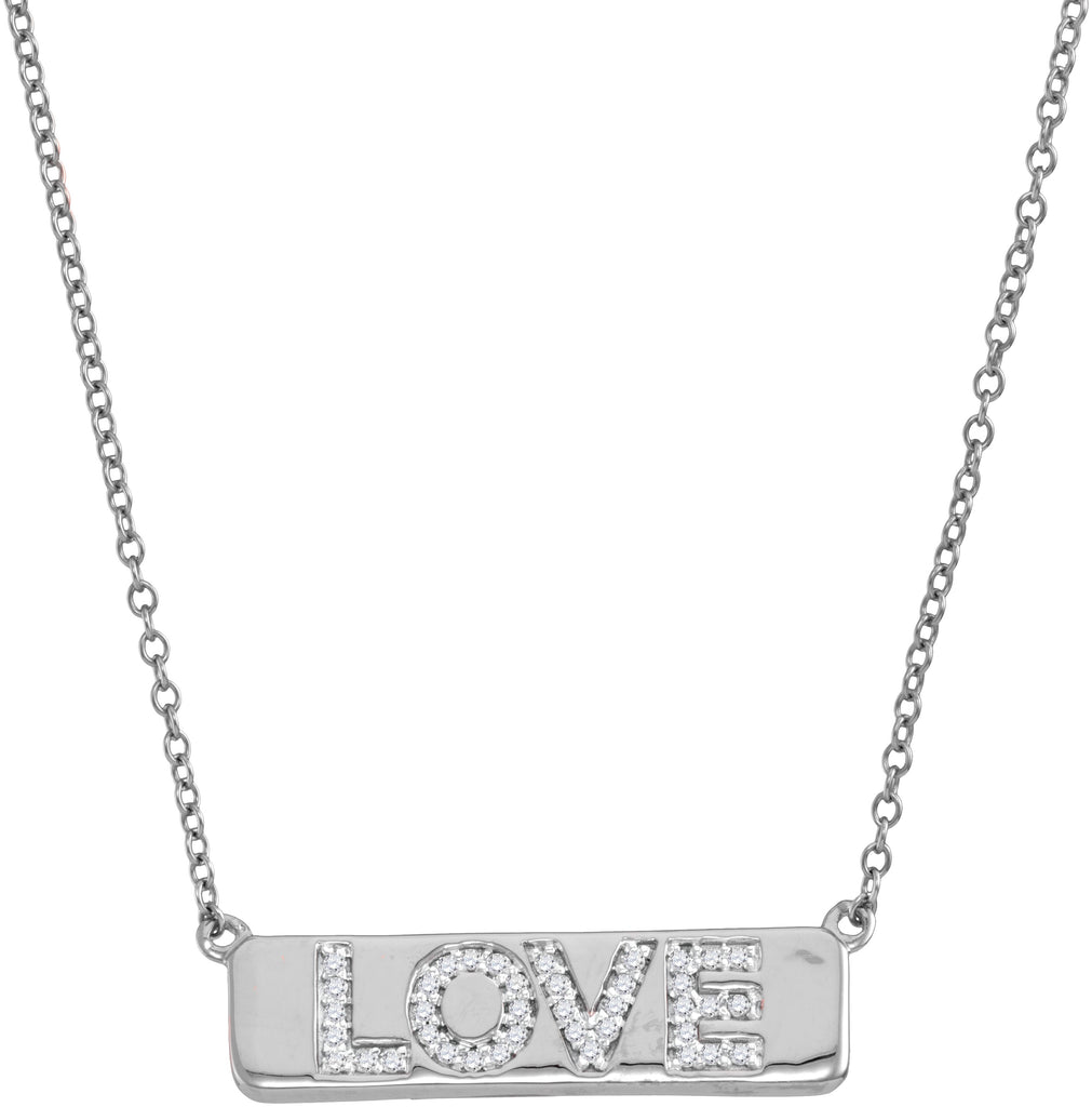 "10kt White Gold Womens Round Diamond Love Bar Pendant Necklace with 18"" Chain 1/8 Cttw"