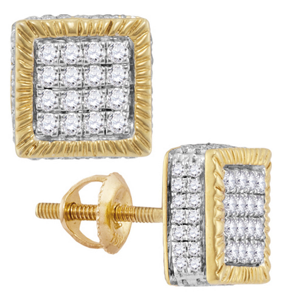 10kt Yellow Gold Mens Round Diamond Square 3D Cluster Stud Earrings 3/4 Cttw