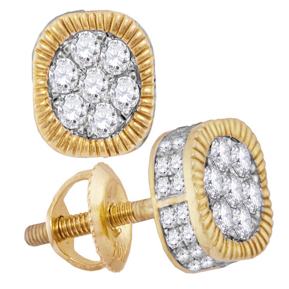 10kt Yellow Gold Mens Round Diamond Square 3D Cluster Stud Earrings 1/2 Cttw