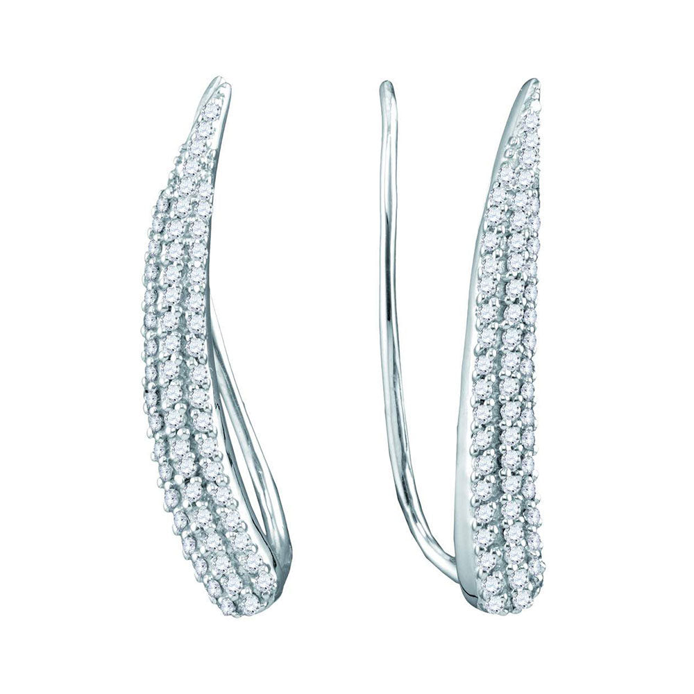10kt White Gold Womens Round Diamond Tapered Climber Earrings 1/3 Cttw