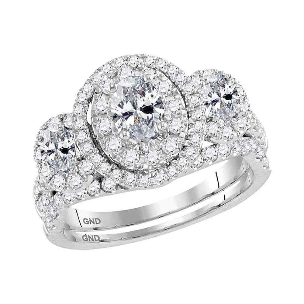 14kt White Gold Womens Oval Diamond 3-Stone Bridal Wedding Engagement Ring Band Set 1-1/2 Cttw