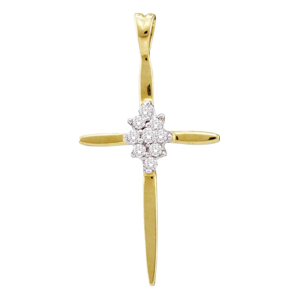 10kt Yellow Gold Womens Round Diamond Cluster Cross Religious Pendant 1/20 Cttw