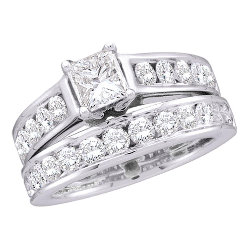 14kt White Gold Womens Princess Diamond Solitaire Bridal Wedding Engagement Ring Band Set 1.00 Cttw