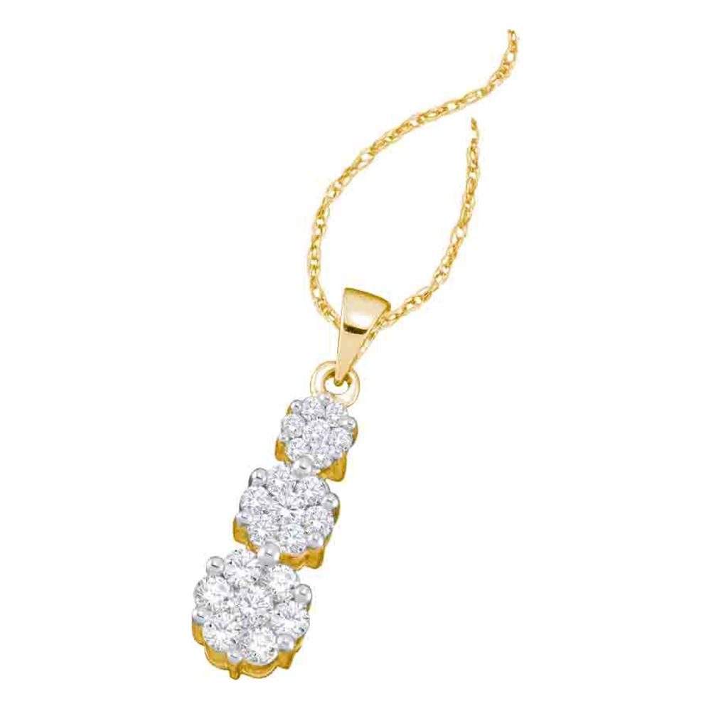 14kt Yellow Gold Womens Round Diamond Triple Flower Cluster Pendant 1.00 Cttw