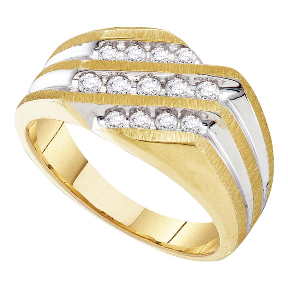 10kt Yellow Gold Mens Round Channel-set Diamond Triple Row Cluster Ring 1/2 Cttw