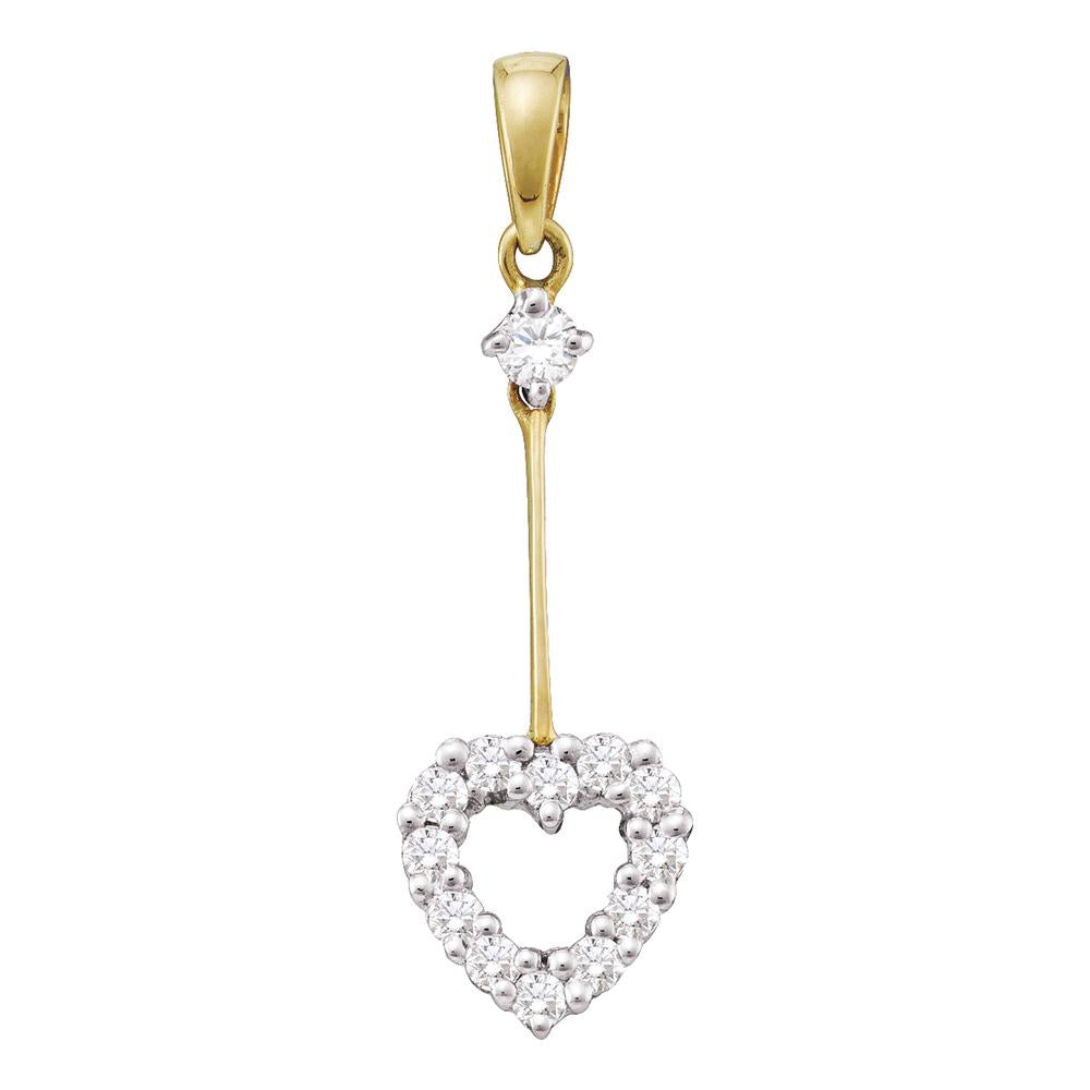 14kt Yellow Gold Womens Round Diamond Heart Outline Dangle Pendant 1/5 Cttw