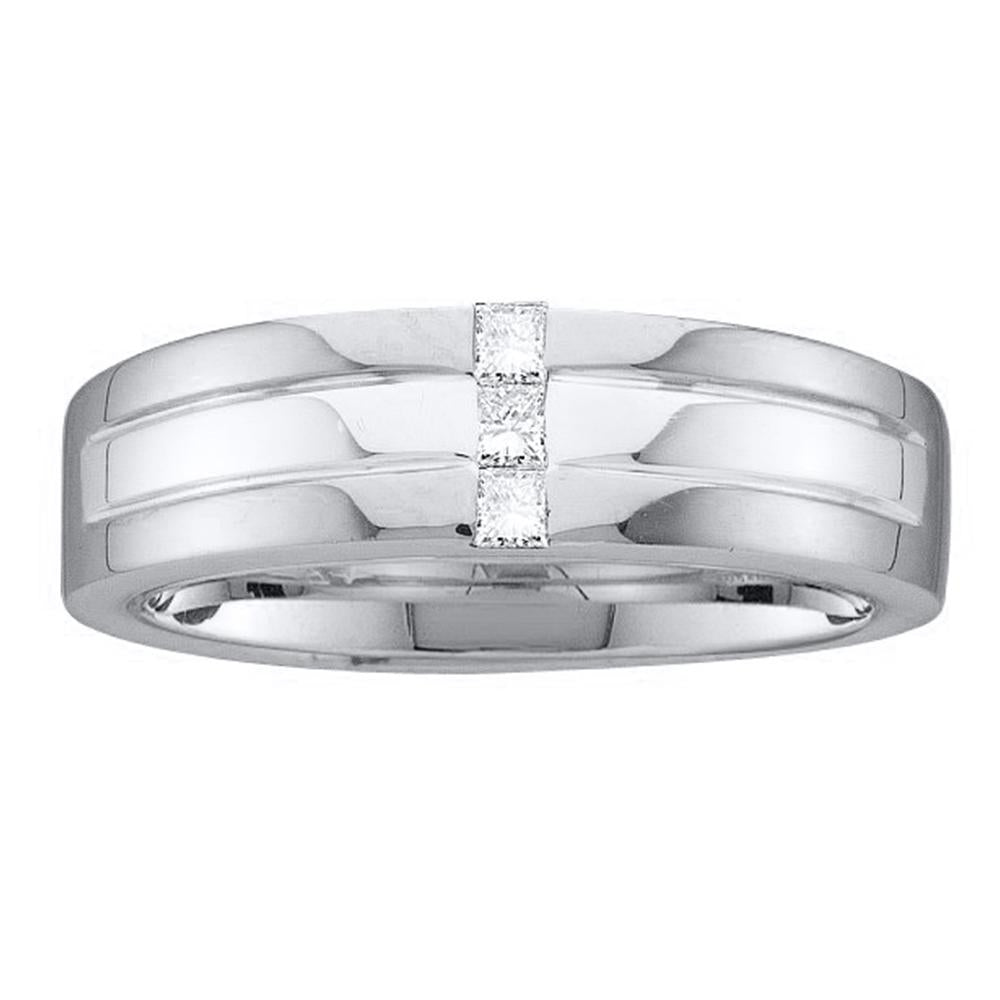 14kt White Gold Mens Princess Channel-set Diamond Single Row Wedding Band Ring 1/6 Cttw