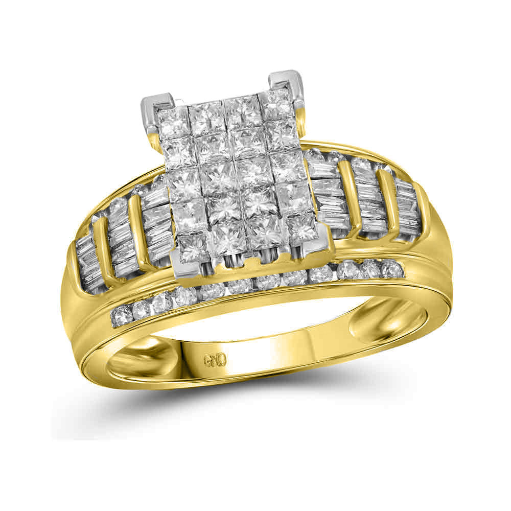 14kt Yellow Gold Womens Princess Diamond Cluster Bridal Wedding Engagement Ring 2.00 Cttw - Size 8