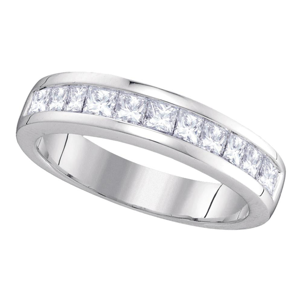 14kt White Gold Womens Princess Channel-set Diamond Single Row Wedding Band 1 Cttw - Size 9