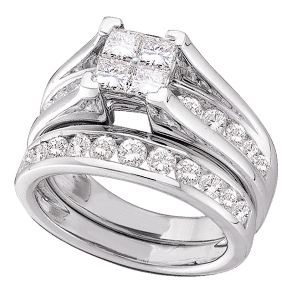 14kt White Gold Womens Princess Diamond Bridal Wedding Engagement Ring Band Set 1.00 Cttw - Size 8