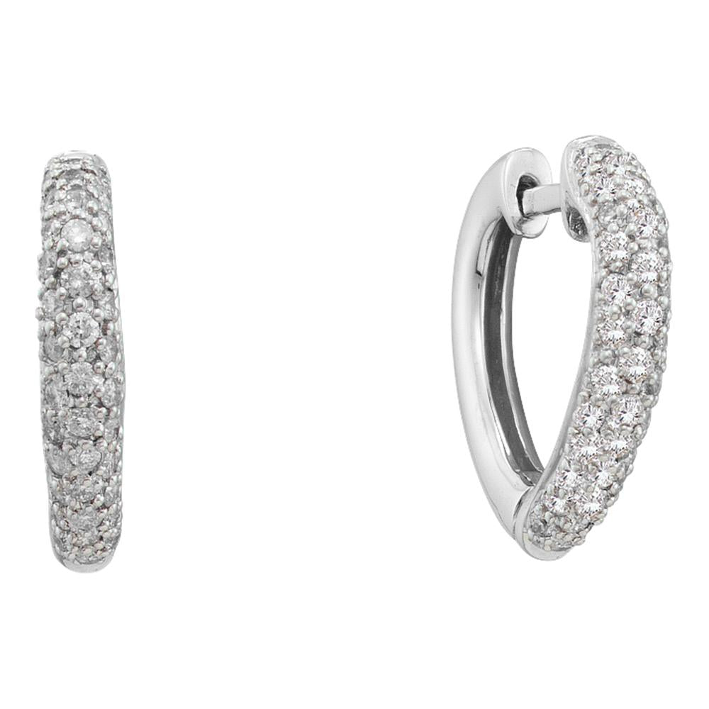 14kt White Gold Womens Round Pave-set Diamond Heart Hoop Earrings 1/2 Cttw