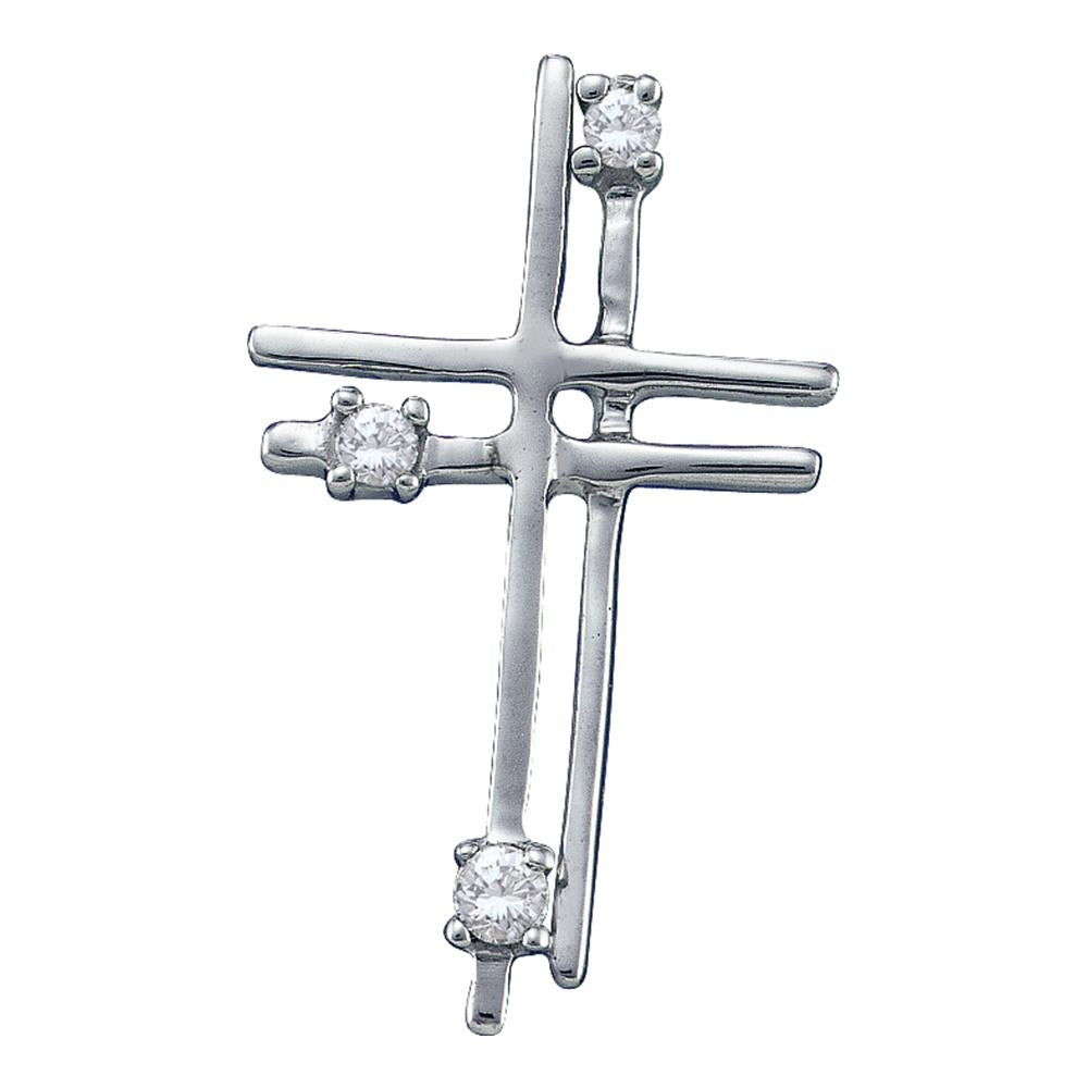 14kt White Gold Womens Round Diamond Layered Cross Religious Pendant 1/20 Cttw