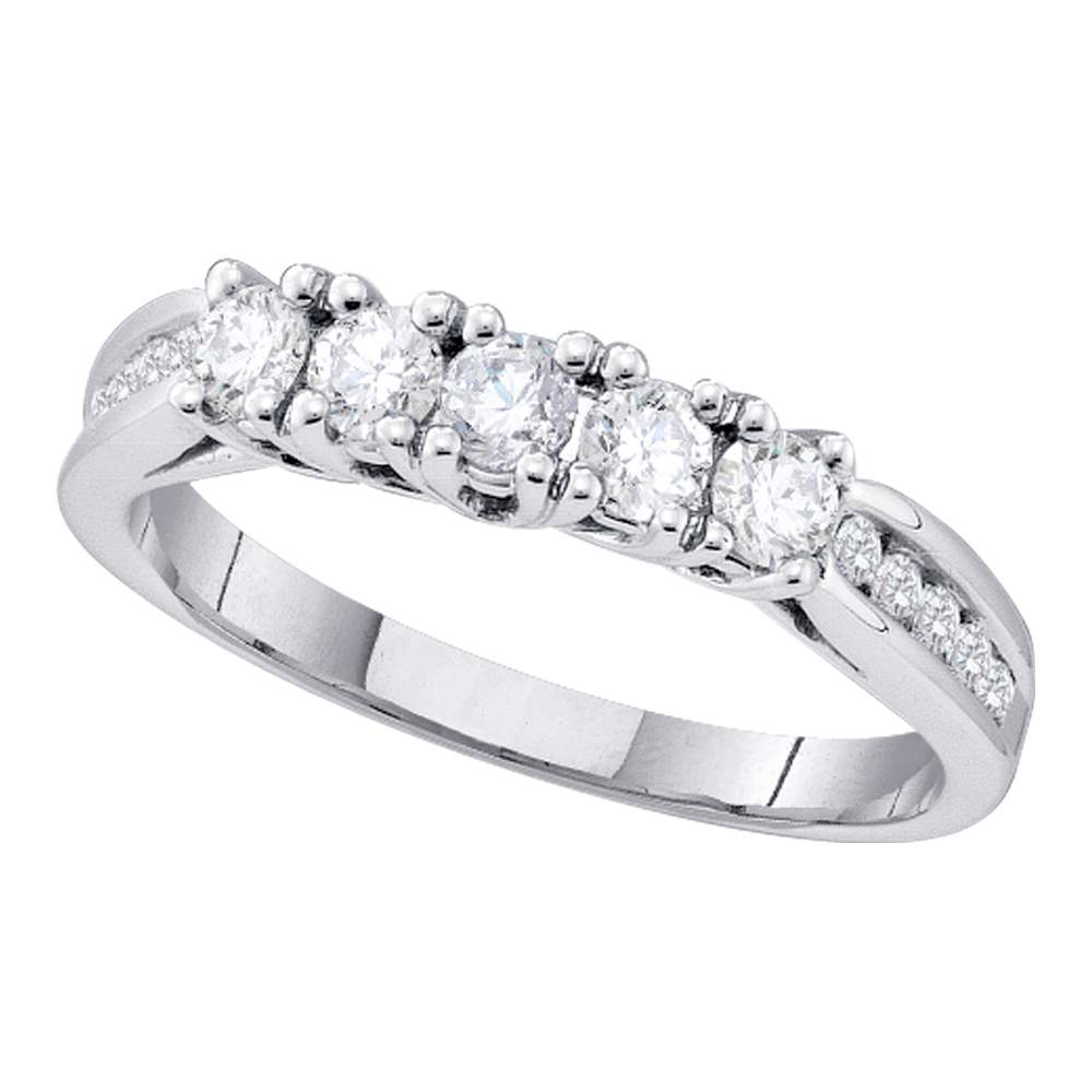 14kt White Gold Womens Round Diamond 5-stone Bridal Wedding Anniversary Band Ring 5/8 Cttw