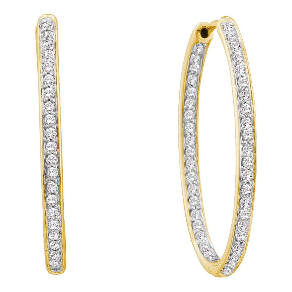 14kt Yellow Gold Womens Round Diamond Inside Outside Endless Hoop Earrings 1/2 Cttw
