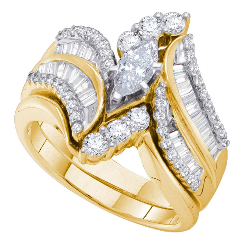 14kt Yellow Gold Womens Marquise Diamond Bridal Wedding Engagement Ring Band Set 1-1/2 Cttw